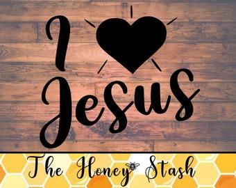 I Love Jesus SVG Cut File for Cricut, Instant Download