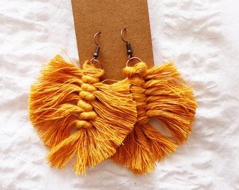 Mustard Feather Macrame Earrings
