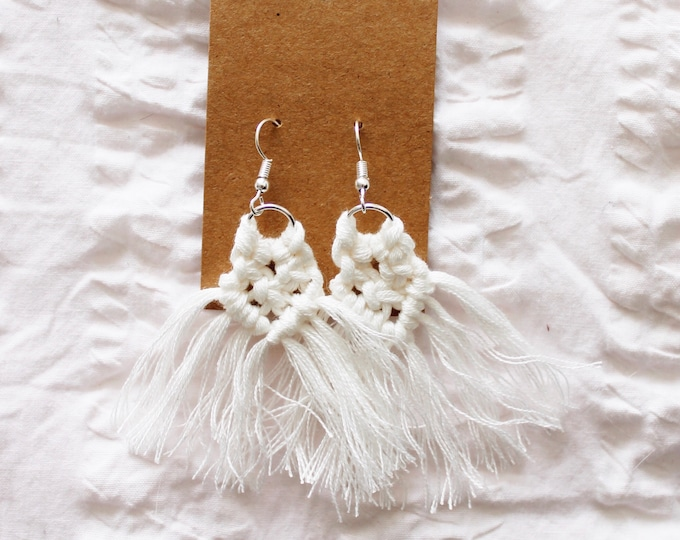 Featured listing image: White Macrame Earrings