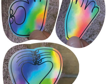 lot of three HOLOGRAPHIC STICKERS / MAINS