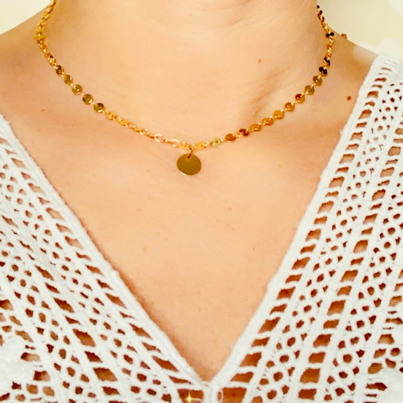 Necklace chain sequins plated 24K gold