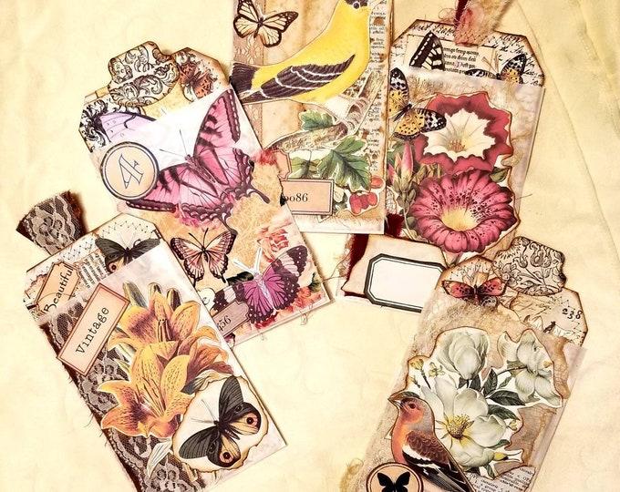 Set of 5 Glassine Bag Pockets and Tags: Vintage, Butterfly, Birds