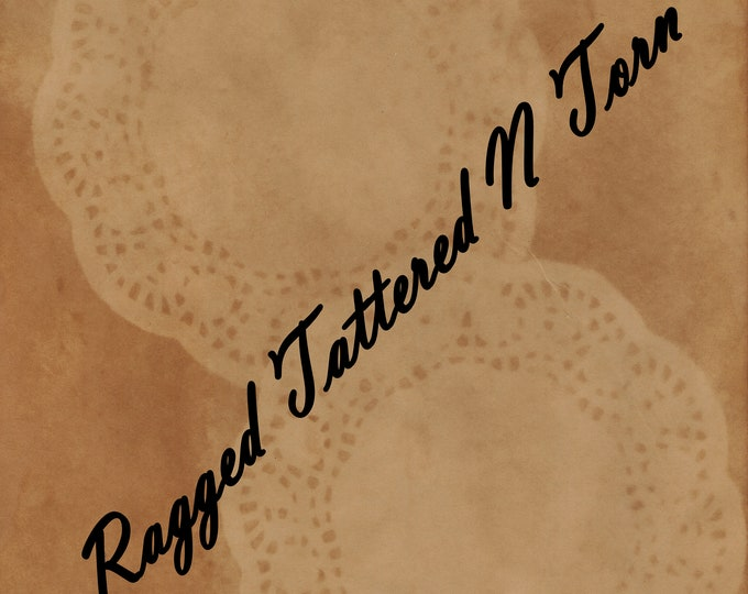 Digital Set of 2 Printables of Double Coffee Dyed Doily