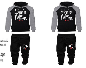 Hes Shes So Lucky Cute Boyfriend Girlfriend Gift His and Hers Matching Couples Hoodie Sweatshirts Set