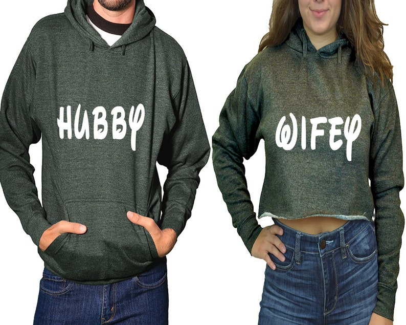 Wedding matching couple hoodies Hubby Wifey cropped hoodie christmas gifts for her christmas gift for him sold separately