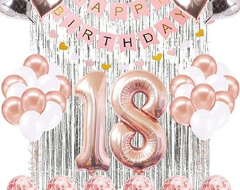 18th Birthday Decorations Banner Balloon Happy Rose Gold Number Balloons 18 Years Old Decoration Supplies