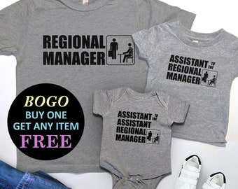 5561676d9 BOGO SALE TODAY: Regional Manager. Assistant To The Regional Manager T-Shirt,  The Office, 1st Matching Kids Shirt, First Fathers Day Gift