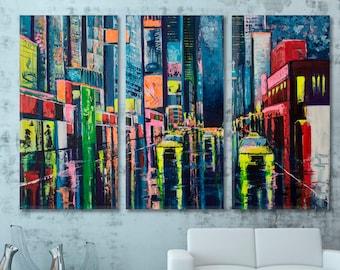 Rain | Contemporary Style Wall Art Canvas Print, City Reflections Large Wall Décor, Landscape Artwork, Cityscape Art, Abstract Modern Art