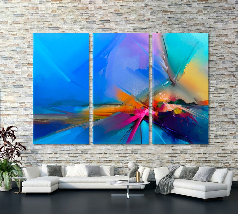 Abstract Contemporary Art Modern Abstract Canvas Print Large Wall D\u00e9cor Abstract Colorful Pattern Poster Bright Abstract Vivid Art