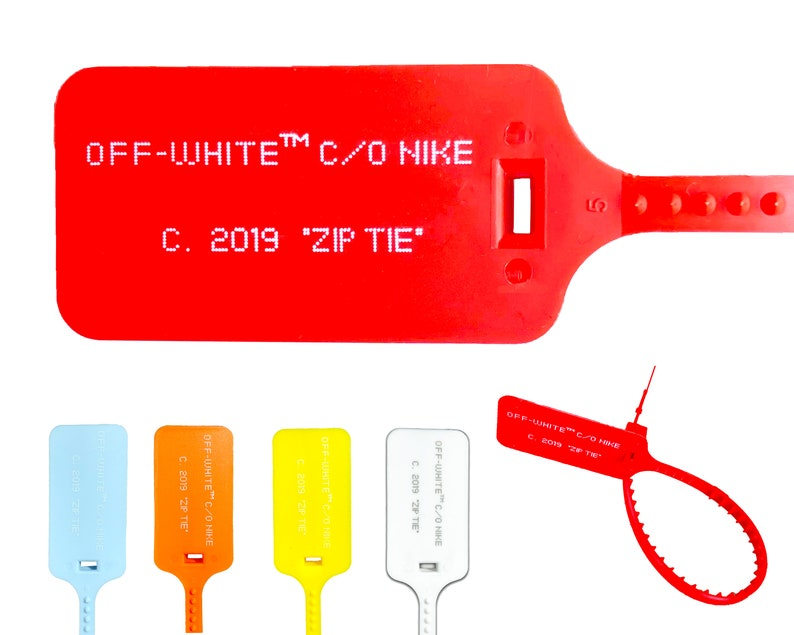 8cd02892033da Red off white zip tie with printed off white text the ten replacement tie  2019
