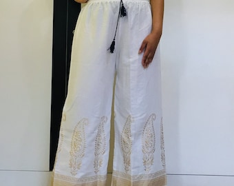bc3673cc38 Women Trousers Indian Block Printed White Wide Flare Ethnic Palazzo Pants