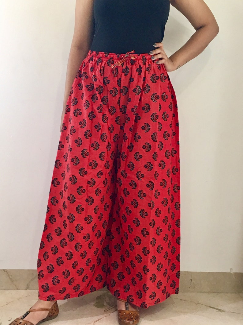 Block Print flare Palazzo Summer Trousers Indian Cotton Yoga Pants free Size