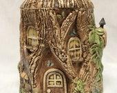 Antique 1977 Duncan Enterprises Collectible Cookie Jar Woodland Theme, Fairy House, Tree Stump, Elf House, Gnome Home