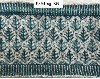 Fair Isle Cowl Knitting Kit in 4ply Turquoise Variegated with or without circular needle