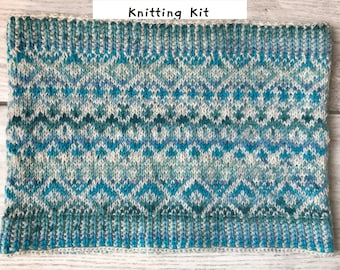 Fair Isle Cowl Knitting Kit in 4ply Turquoise Variegated (with or without circular needle)