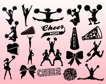 Cheer SVG Bundle, Cheer svg, cheerleading svg, cheerleader svg, cheer clipart, svg files for silhouette and cricut, INSTANT DOWNLOAD