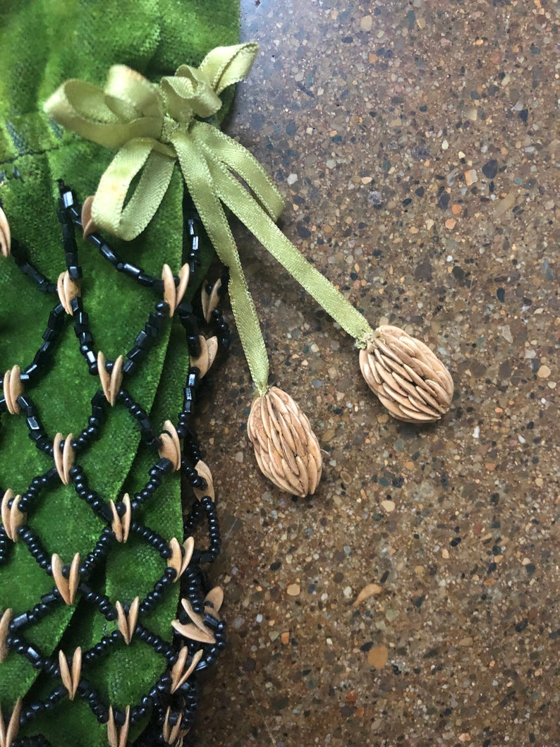 Rare Antique 1800s Melon Seed Embroidery Green Velvet Reticule Purse ~ Unusual Victorian Gothic Witchy Bag