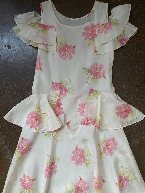 Vintage 1930s Flutter Sleeve Dress w/ Peplum and R