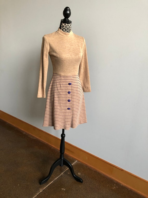 Vintage 1960s Teena Paige Tan Wool Mini Dress Fit