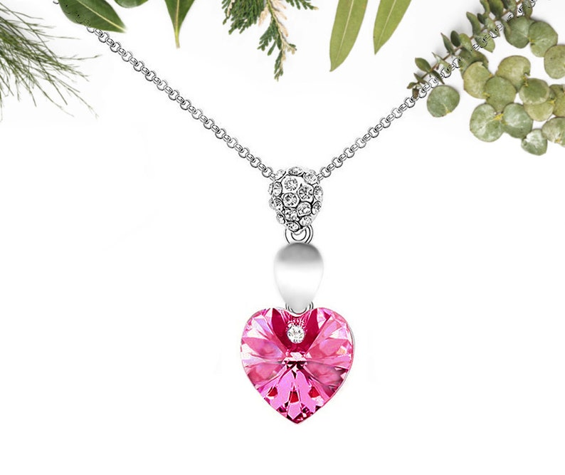 Pink Crystal Heart Silver Plated Necklace Jewelry