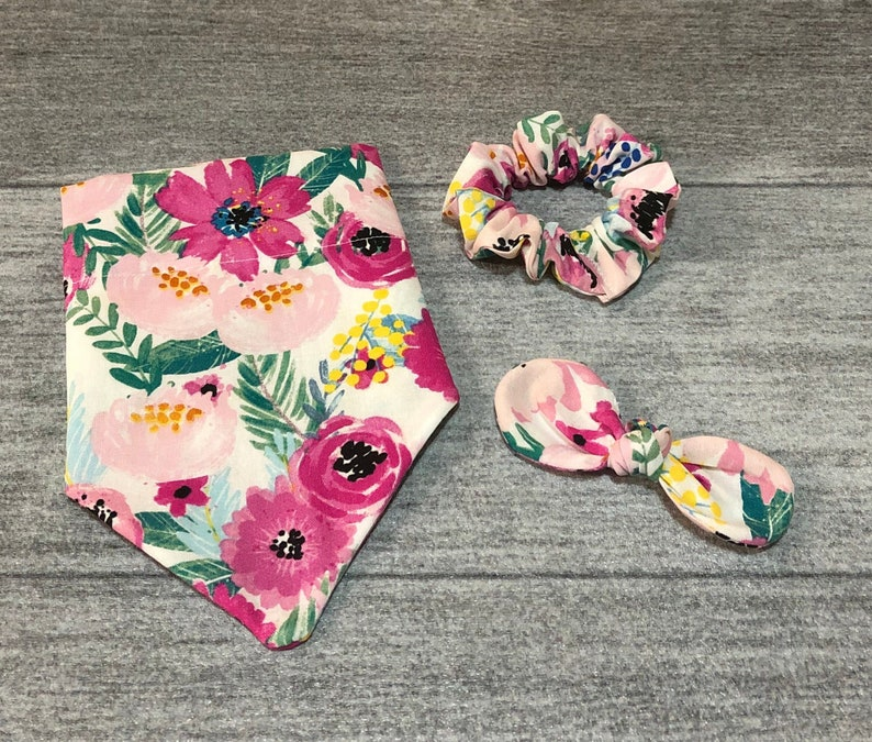 Pink Blooms Matching Scrunchie and Knot Hair Bow! Over the Collar Dog Bandana  Dog Scarf