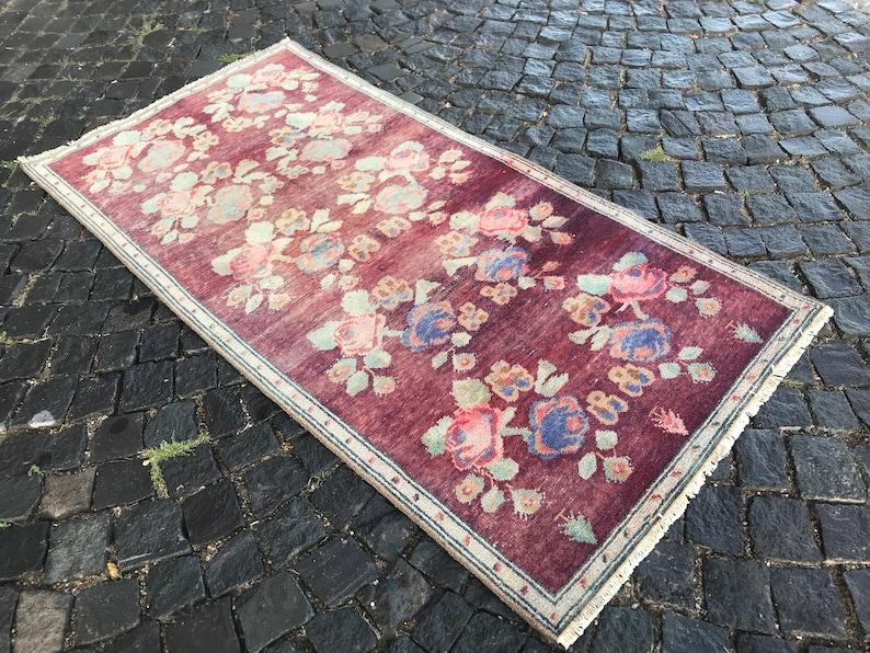 Oriental rug Ethnic rug Vintage Rug Bohemian wool rug Oushak Rug Turkey Rug Anatolian rug 195 x 98 CM = 6,39 x 3,21 Ft