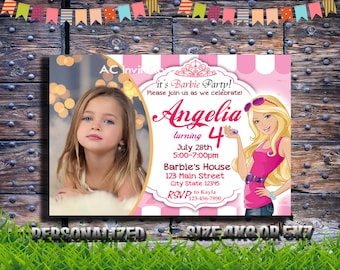 Barbie Birthday Invitations With Photo Personalized Digital File