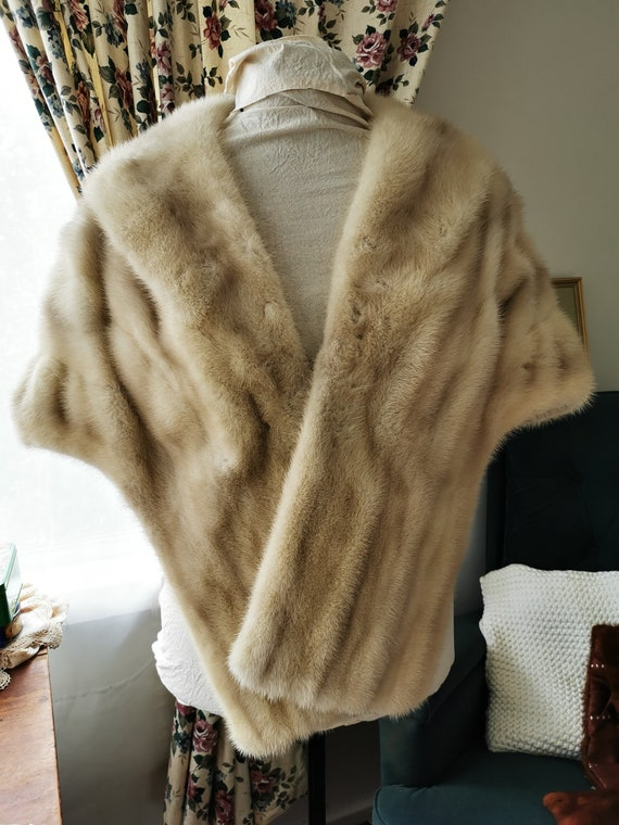 1940s blonde mink wedding stole cape