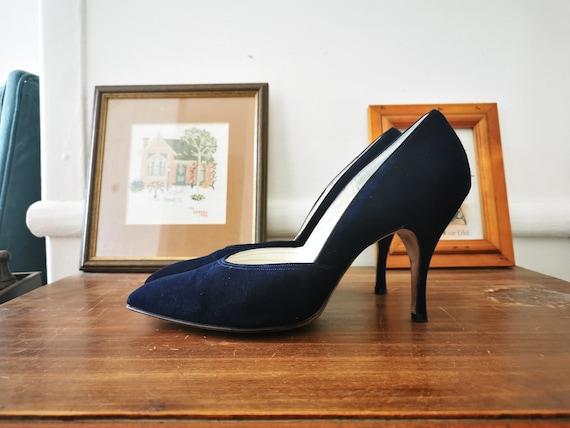 1950s vintage blue suede heels