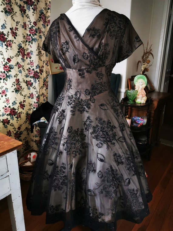 1950s flocked chiffon evening gown