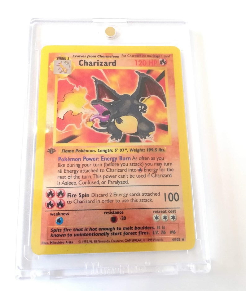 Charizard Shiny Base Set First Edition Shadowless Custom Holo Pokemon Card