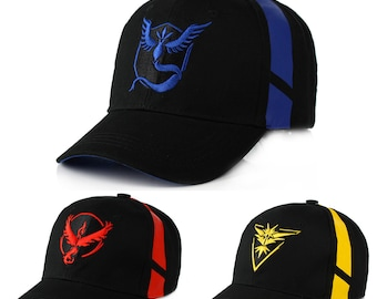 Team Mystic Pokemon Inspired Baseball Cap Team Go Hats Catch Them all Kids//Adult