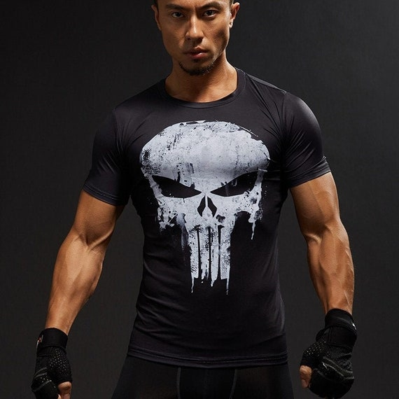Short Sleeve 3D Superhero Compression Shirt Men T Shirt Male CrossFit Captain America Superman Fitness Punisher Shirt MMA