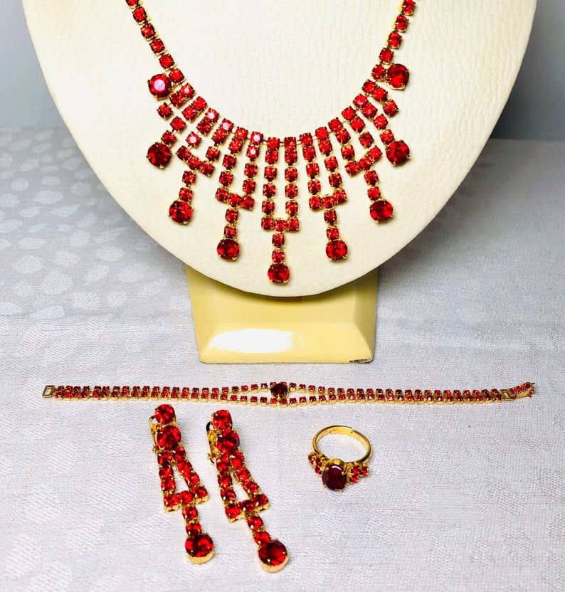 4 Piece Set  Swarovski Crystal 60s Bib Drop Cleopatra image 0