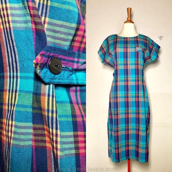 70s Sapphire Blue Madras Plaid Vintage Dress, Japa