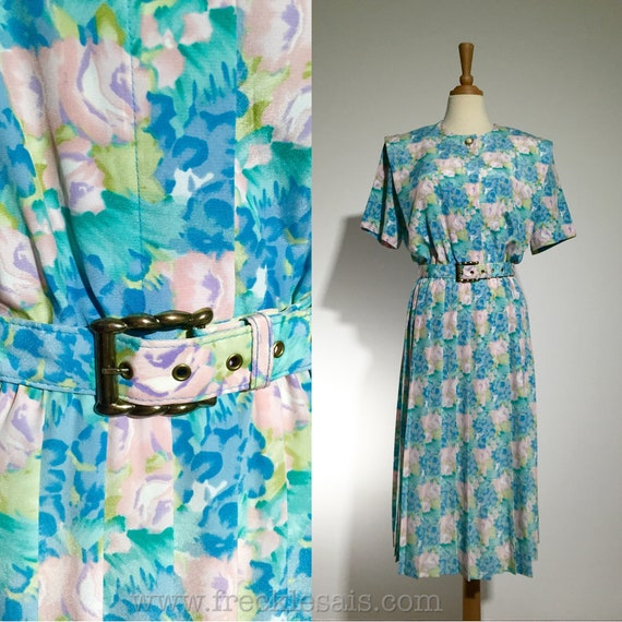LESLIE FAY 80s Pastel Floral Vintage Dress with ma