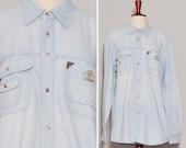 Flap Pockets Cowboy Shirt Light Blue Jean Western Shirt Loose Boyfriend Denim Shirt Vintage Unisex Everyday Shirt Small