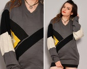 Color Block Geometric Hipster Sweater Striped Texture Grey Thin Sweater Unisex Vneck Pullover Sweater Colorblock Fall Oversize Sweater