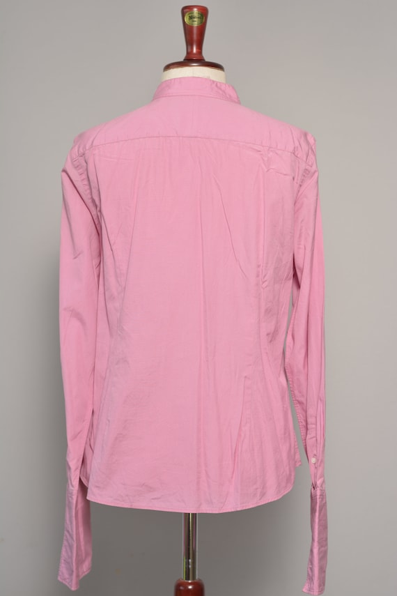 Pink High Neck Vintage Shirt | Long Cuff Sleeves … - image 5