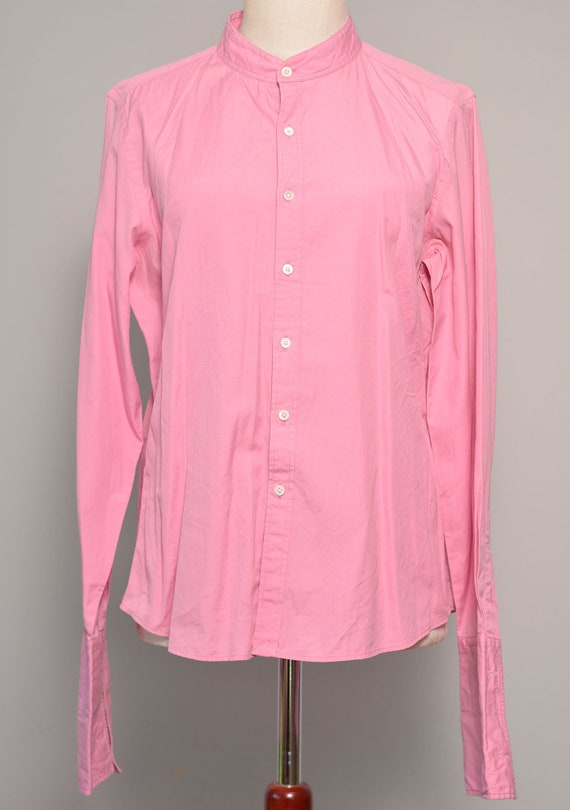Pink High Neck Vintage Shirt | Long Cuff Sleeves … - image 7