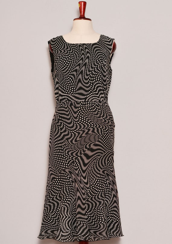 Black White Psychedelic Print Top Skirt Set - image 2