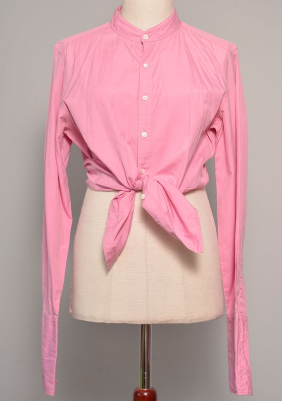 Pink High Neck Vintage Shirt | Long Cuff Sleeves … - image 6