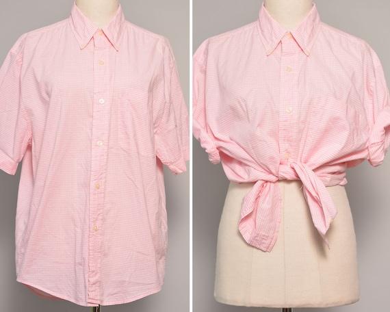 Checkered Pattern Pink Oxford Shirt | Short Sleeve