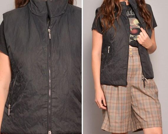 Vintage Black Puffer Vest | Winter Sleeveess Down