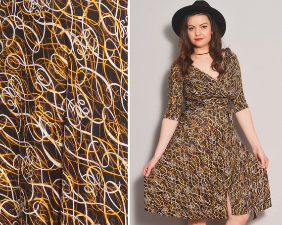 Iconic Designer Silk Wrap Dress | Swirl Pattern Fi