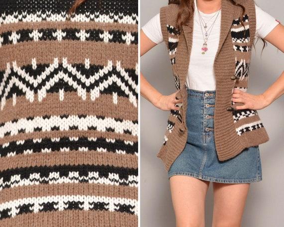 90s Vest Pattern Sleeveless Sweater Gypsy Alpaca V
