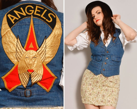 Angels Patch Denim Vest | Fitted Jean Vest with Po