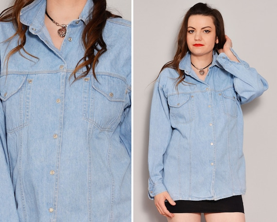 Light Wash Denim Shirt | Chest Pockets Trucker Shi