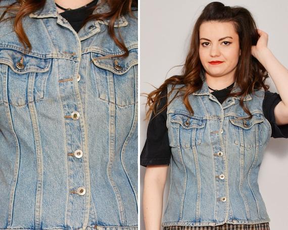 Blue 90s Jean Vest | Trucker Style Sleeveless Jack
