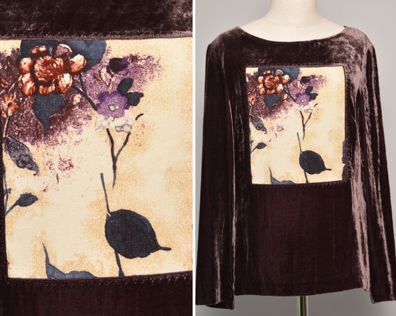 Painting Motife Blouse | Flower Painted Print Vel… - image 1